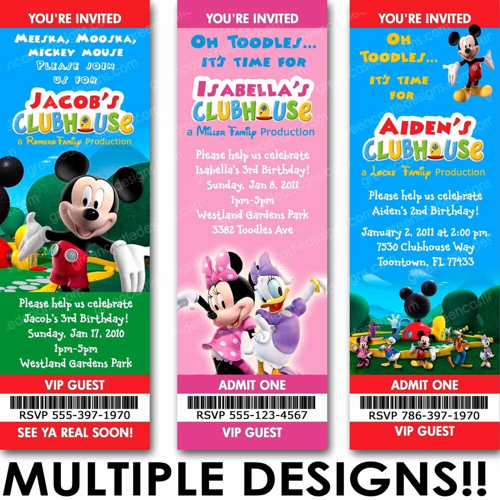 Mickey and Minnie Party Invitations Luxury Mickey Minnie Mouse Clubhouse Birthday Party Invitation