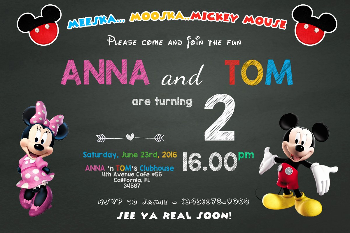 Mickey and Minnie Party Invitations New Free Mickey Mouse Summer Birthday Invitations