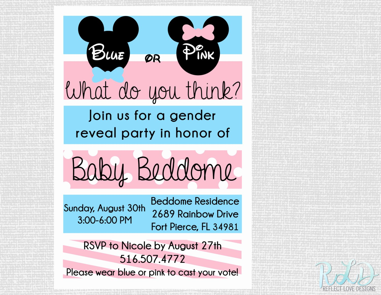 Mickey and Minnie Party Invitations New Gender Reveal Party Invitation Mickey Mouse Minnie Mouse