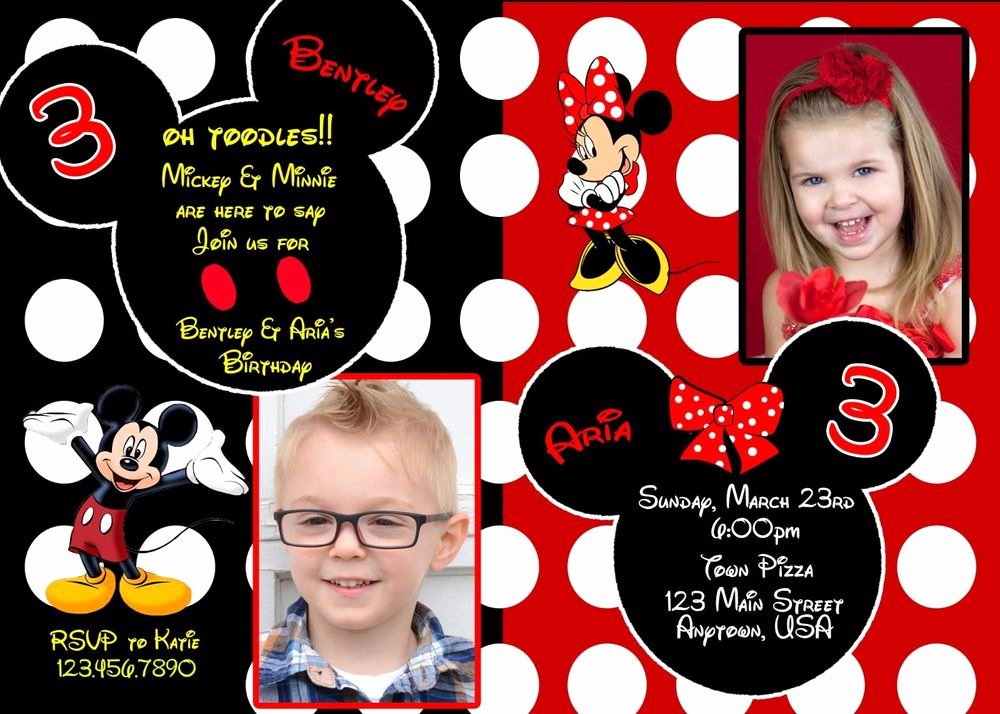 Mickey and Minnie Party Invitations New Mickey Mouse Birthday Invitation Minnie Mouse Birthday