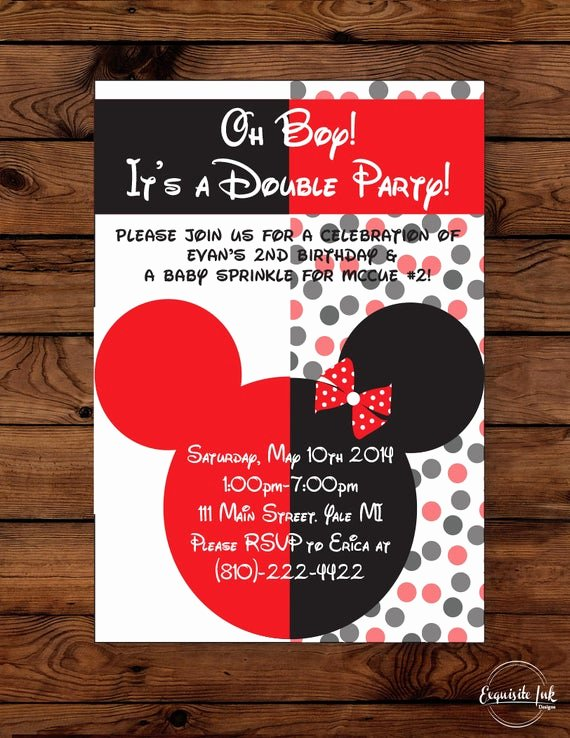 Mickey and Minnie Party Invitations Unique Micky & Minnie Mouse Double Party Invitation
