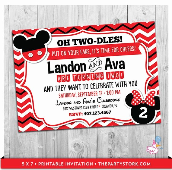 Mickey and Minnie Party Invitations Unique Twin Invitations Mickey and Minnie Mouse Twin Birthday