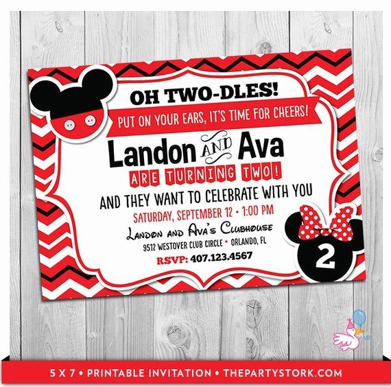 Mickey and Minnie Party Invitations Unique Twin Invitations Mickey and Minnie Mouse Twin Birthday