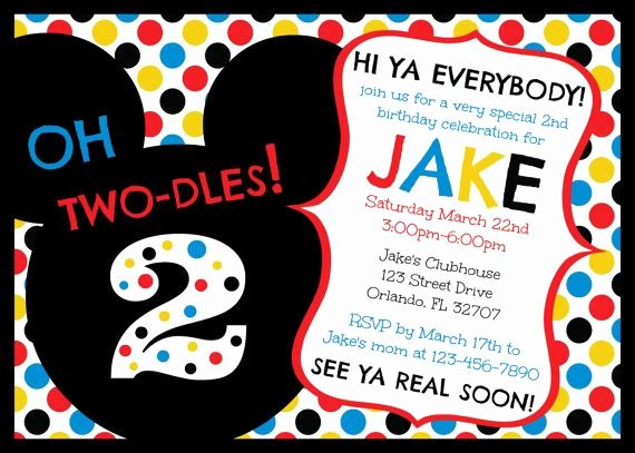 Mickey Mouse 2nd Birthday Invitations Awesome Mickey Mouse Clubhouse Oh Two Dles 2nd Birthday Invitation