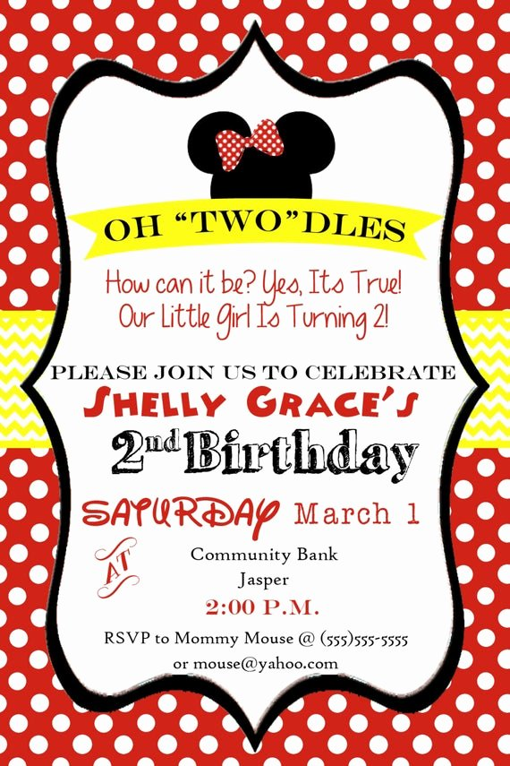 Mickey Mouse 2nd Birthday Invitations Awesome Oh toodles Minnie Mouse 2nd Birthday Party by