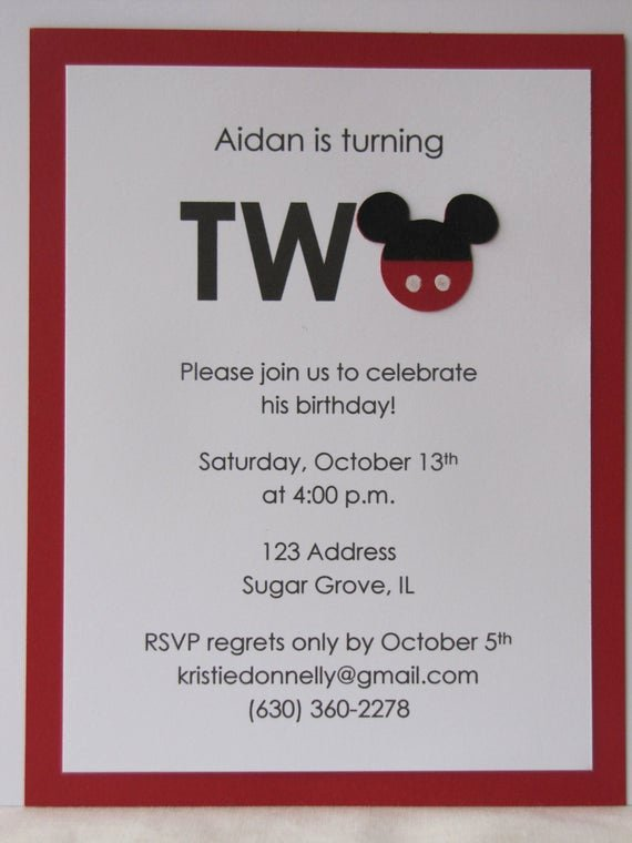 Mickey Mouse 2nd Birthday Invitations Beautiful Items Similar to Mickey Mouse 2nd Birthday Party