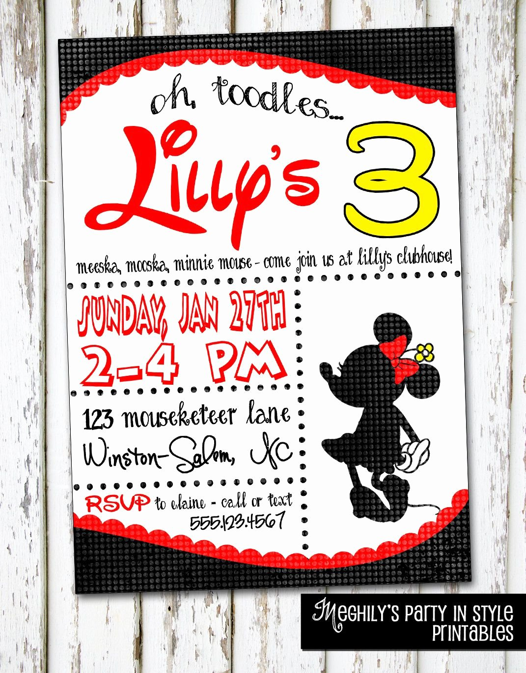 Mickey Mouse 2nd Birthday Invitations Beautiful Minnie Mouse Invitation Its Party Time