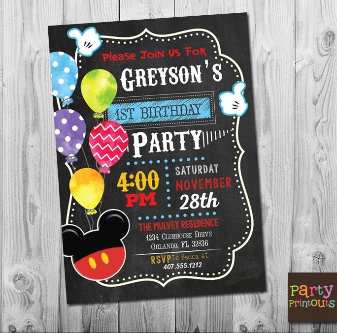 Mickey Mouse 2nd Birthday Invitations Best Of Mickey Mouse 1st Birthday Invitation Printable Mickey