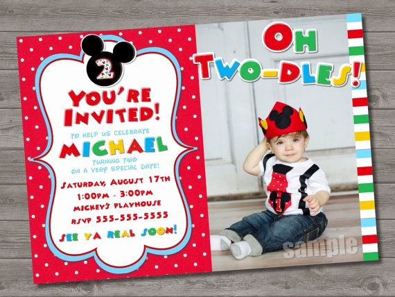 Mickey Mouse 2nd Birthday Invitations Fresh 2 Year Old Birthday Invitation Sayings