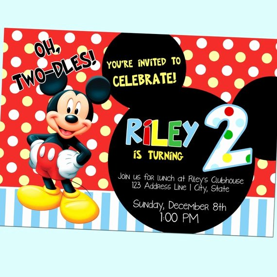 Mickey Mouse 2nd Birthday Invitations Fresh Oh Two Dles Mickey Mouse Club House Second by Goodhuedesigns