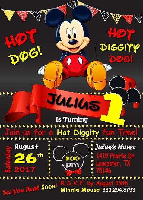 Mickey Mouse 2nd Birthday Invitations Inspirational Mickey Mouse Birthday Invitation 1st Birthday Invitation