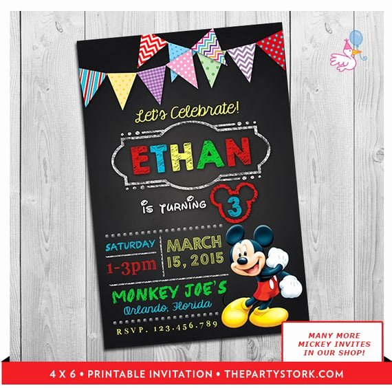 Mickey Mouse 2nd Birthday Invitations Inspirational Mickey Mouse Clubhouse Invitations Printable Personalized Boy