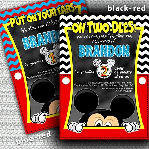 Mickey Mouse 2nd Birthday Invitations Inspirational Mickey Mouse Invitation 2nd Birthday Mickey Mouse Invitation
