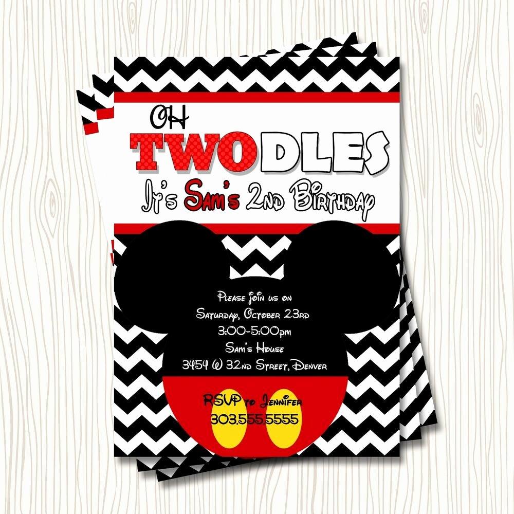 Mickey Mouse 2nd Birthday Invitations Inspirational Mickey Mouse Twodles toodles 2nd Birthday Party Invitation