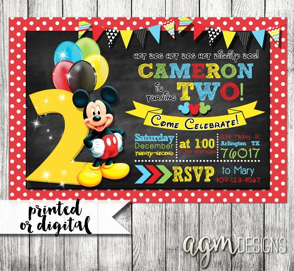 Mickey Mouse 2nd Birthday Invitations Lovely 31 Mickey Mouse Invitation Templates Free Sample