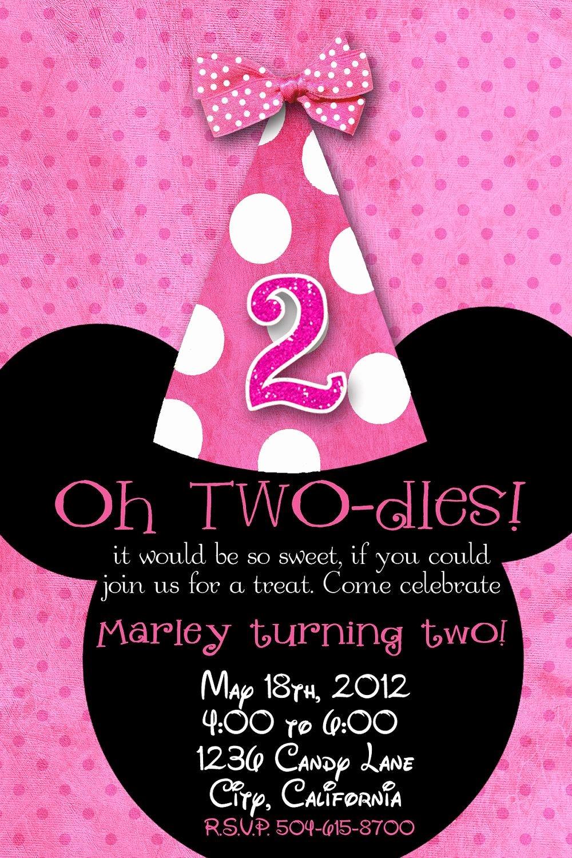 Mickey Mouse 2nd Birthday Invitations Luxury Minnie Mouse Custom Birthday Printable Disney Invitations