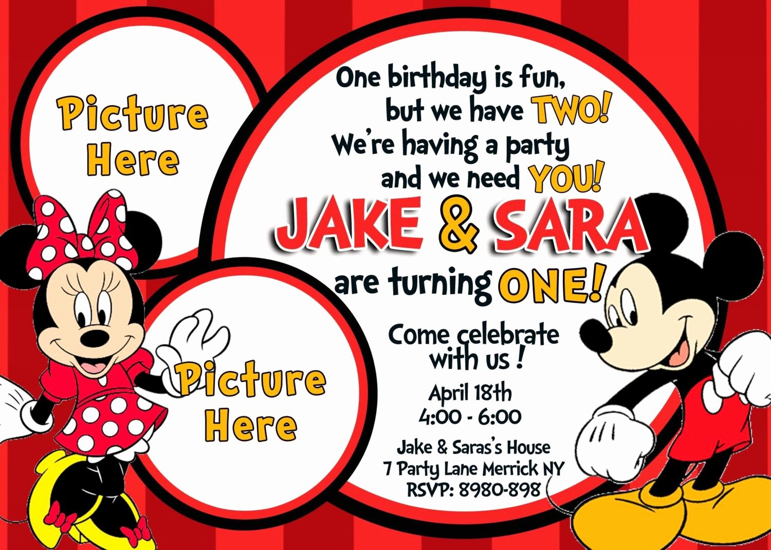 Mickey Mouse 2nd Birthday Invitations New Minnie and Mickey Mouse Birthday Invitations