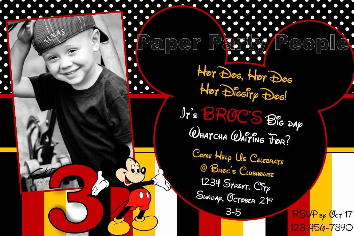 Mickey Mouse 2nd Birthday Invitations Unique 2nd Birthday Mickey Mouse Invitation Wording Google