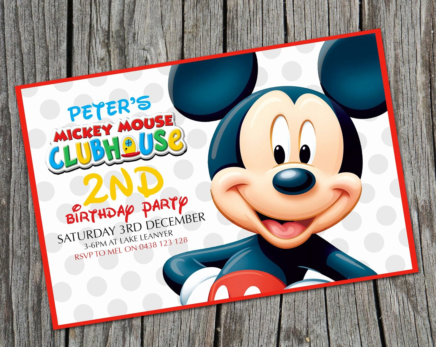 Mickey Mouse 2nd Birthday Invitations Unique Invitation Mickey B Day Party Logan Age 3