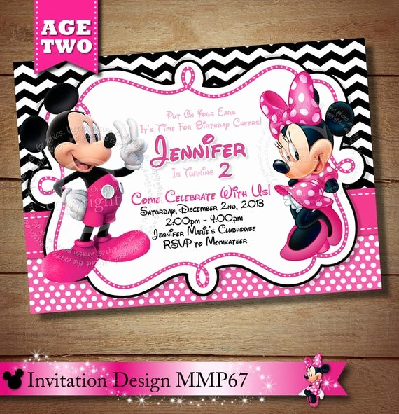 Mickey Mouse 2nd Birthday Invitations Unique Items Similar to Huge Selection Mickey Minnie Mouse Second