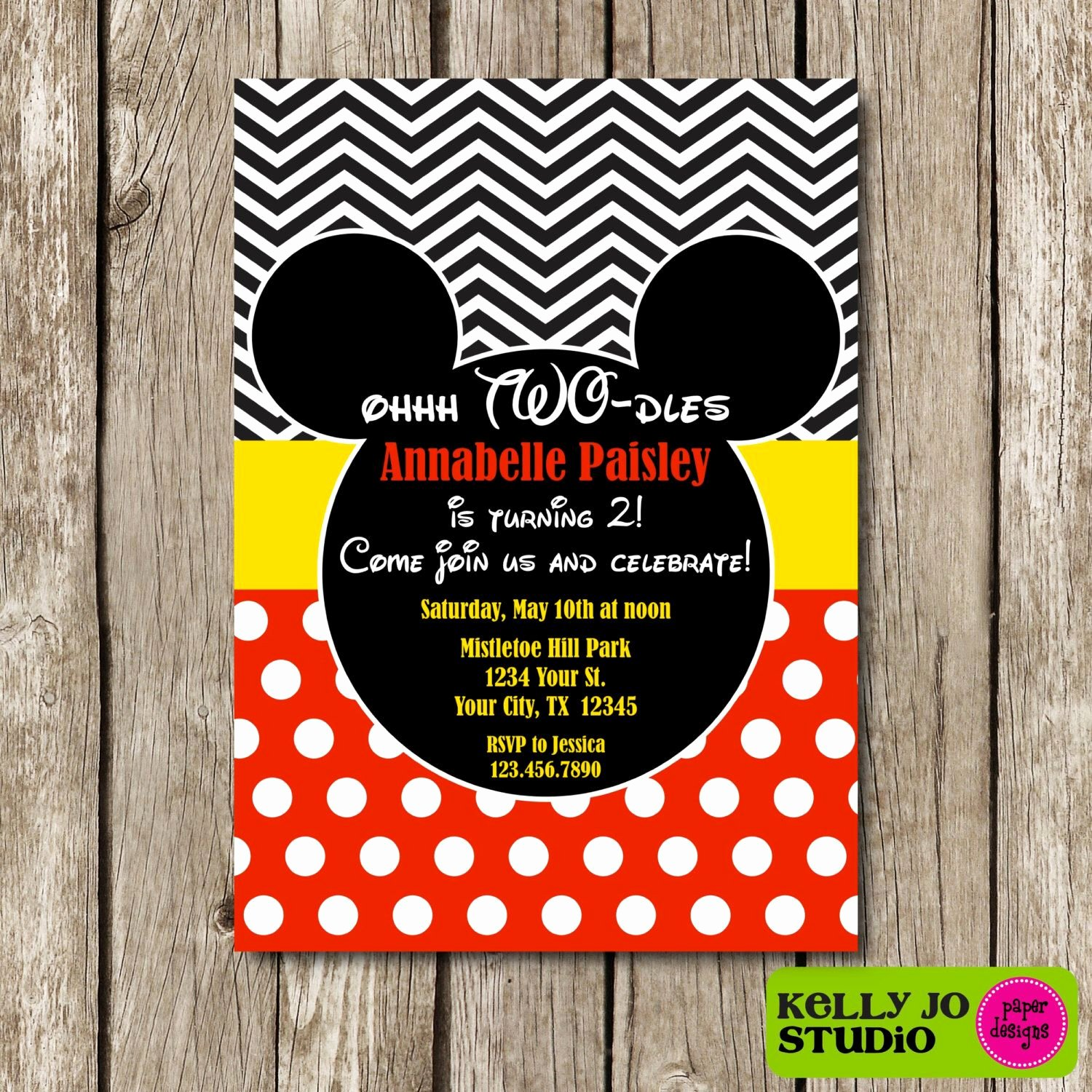 Mickey Mouse 2nd Birthday Invitations Unique Mickey Mouse Oh Two Dles Birthday Invitation Mickey