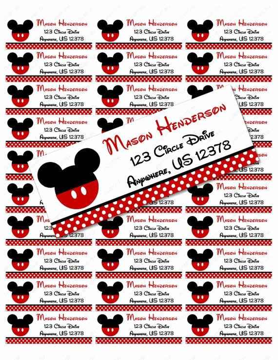 Mickey Mouse Address Label Best Of Red Mickey Mouse Address Label Avery 5160 Instant