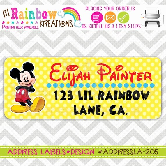 Mickey Mouse Address Label Inspirational Addressla 205 Diy Mickey Mouse Address Labels
