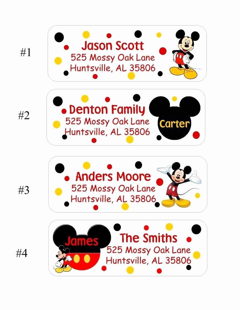 Mickey Mouse Address Label Lovely 60 Mickey Mouse Return Address Labels 4 Styles Ot Choose