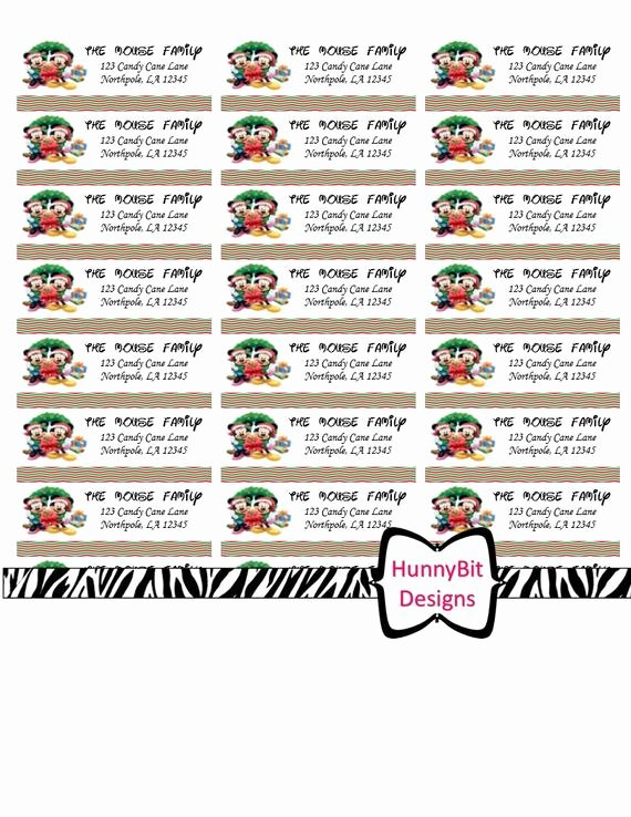 Mickey Mouse Address Label Lovely Disney Mickey and Minnie Mouse Christmas Address Labels Size