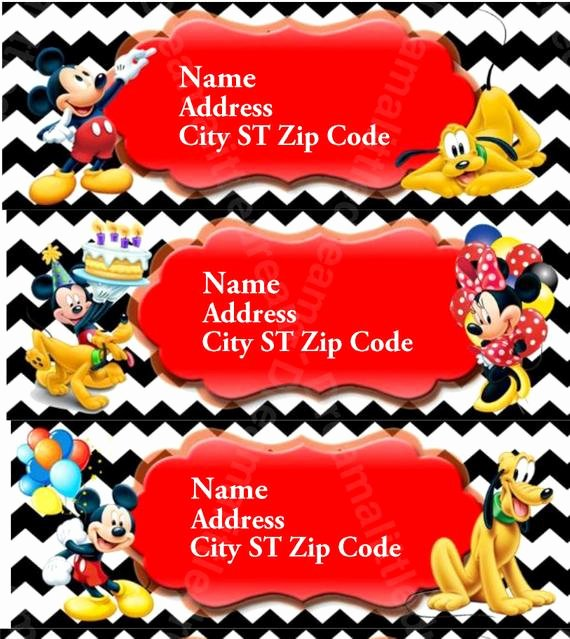 Mickey Mouse Address Label Lovely Mickey Mouse Editable Address Labels