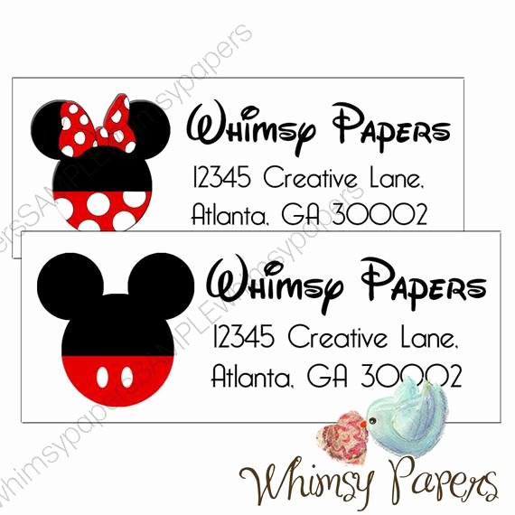 Mickey Mouse Address Label Lovely Mickey Mouse or Minnie Mouse Return Address Labels Glossy