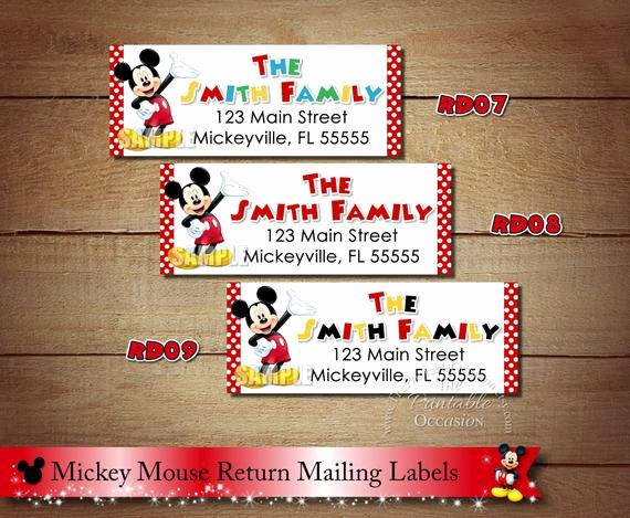 Mickey Mouse Address Label New Mickey Mouse Return Address Labels Red Polka Dot Mickey Mouse