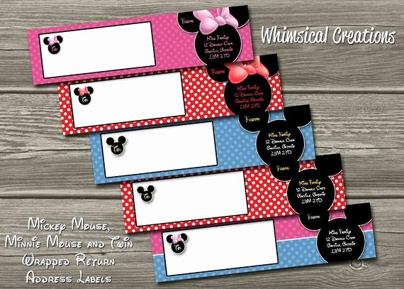 Mickey Mouse Address Label Unique Items Similar to Minnie Mouse Wrap Around Return Address
