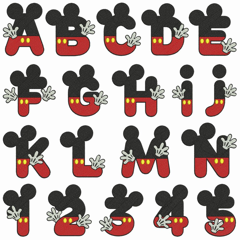 Mickey Mouse Alphabet Letters Awesome Mickey Alphabet & Numbers Machine Embroidery Patterns 36