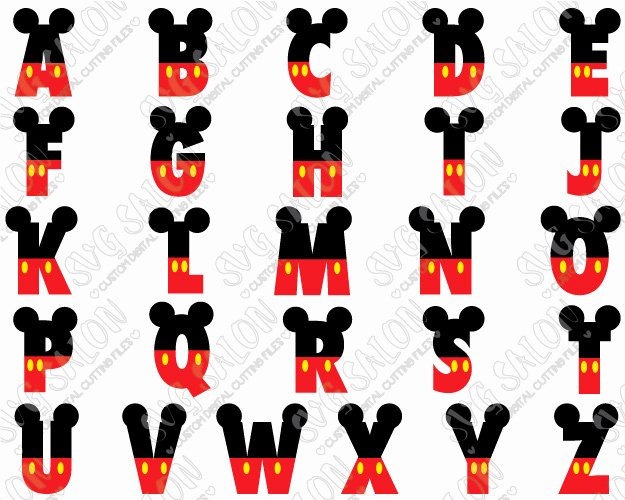 Mickey Mouse Alphabet Letters Elegant Mickey Mouse Disney Font Svg Cut File Set In Svg Eps Dxf