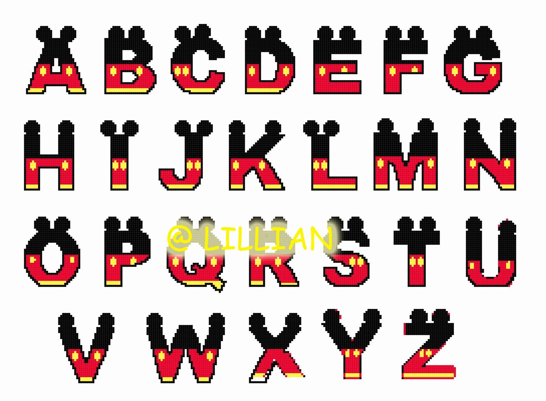 Mickey Mouse Alphabet Letters Inspirational Alphabet Abc Number 123 Cross Stitch Patterns Kits