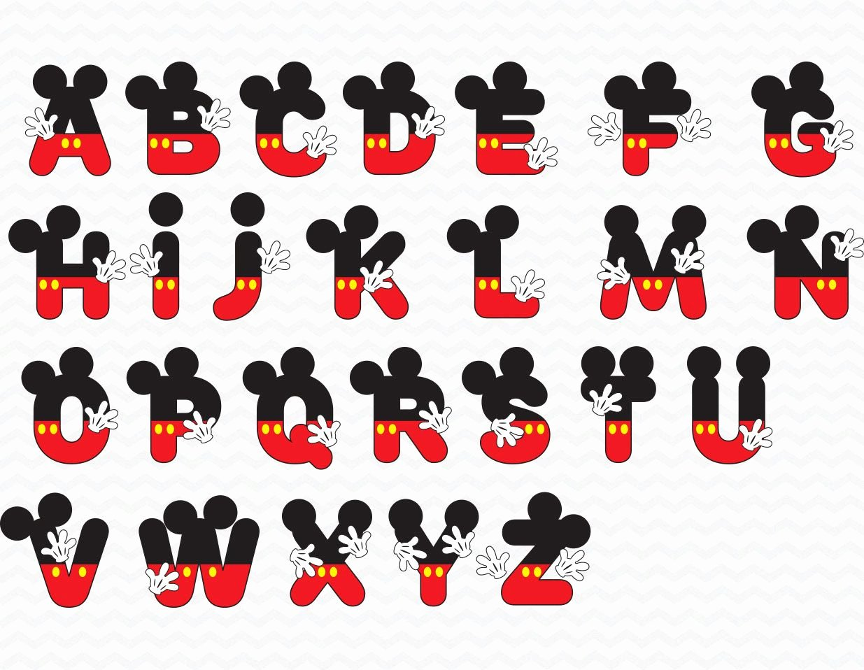 Mickey Mouse Alphabet Letters Luxury Mickey Alphabet Mickey Alphabets Mickey Alphabets