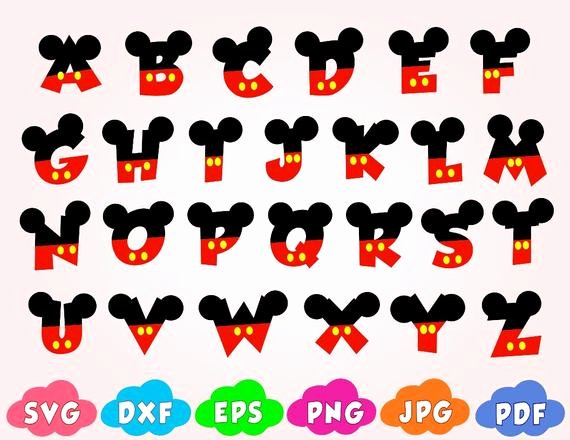 Mickey Mouse Alphabet Letters Luxury Mickey Font Svgletters with Mickey Mouse Svgdisney