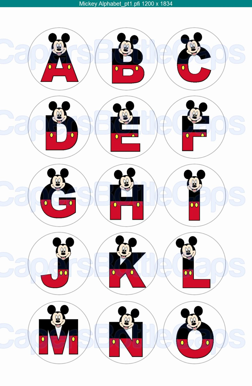 Mickey Mouse Alphabet Letters New Mickey Mouse Alphabet Bottlecap Collage Sheet by