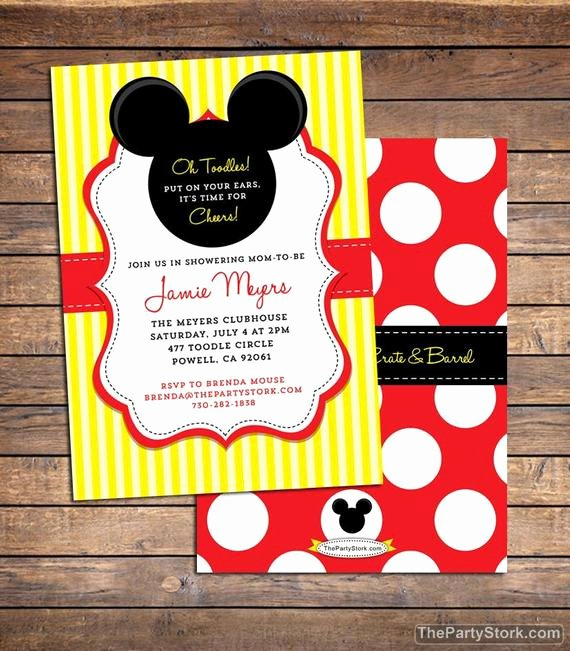 Mickey Mouse Baby Shower Invitation Beautiful Mickey Mouse Baby Shower Invitation Printable Baby Boy or