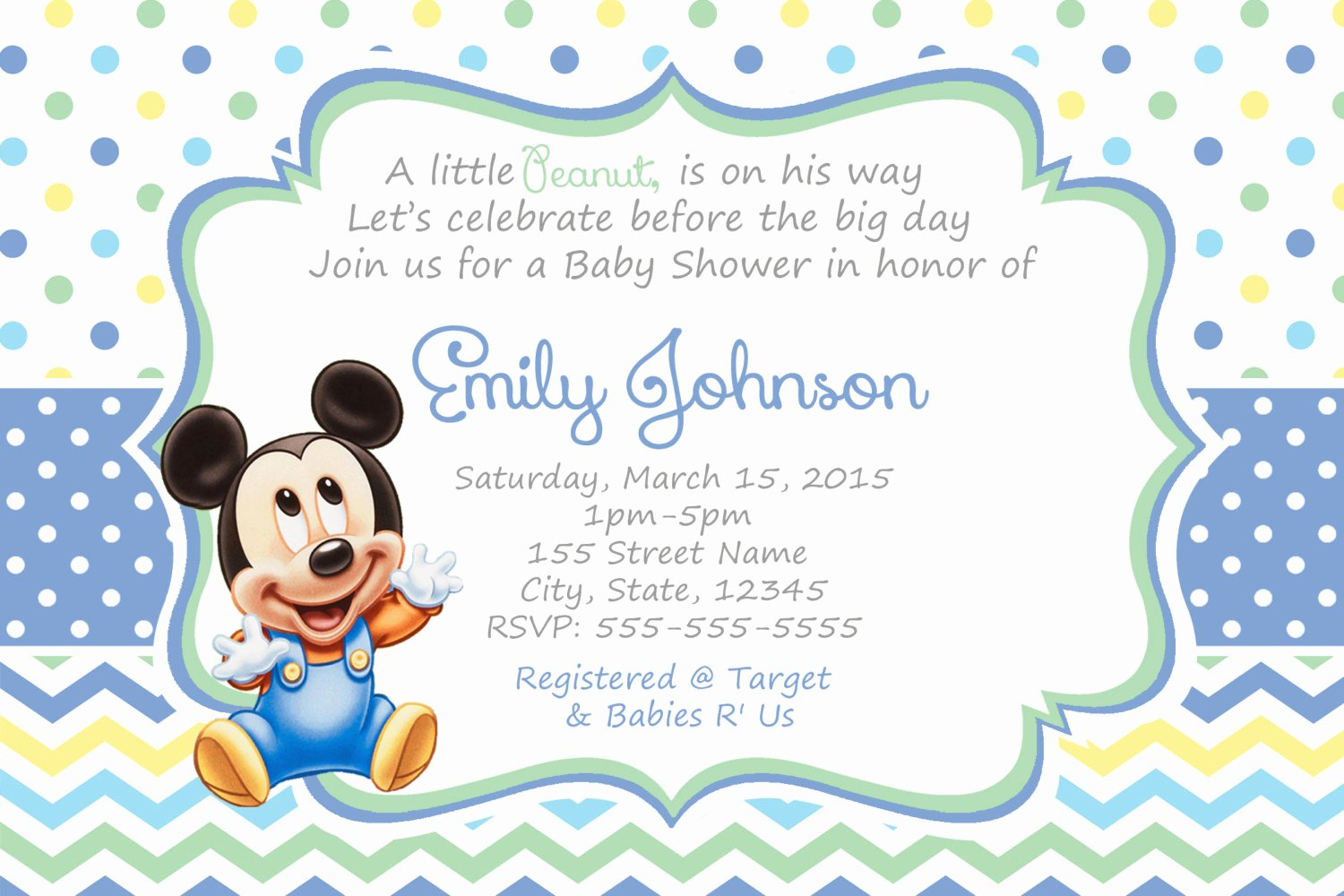 Mickey Mouse Baby Shower Invitation Beautiful Mickey Mouse Baby Shower Invitations Baby Mickey Shower