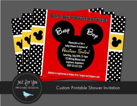Mickey Mouse Baby Shower Invitation Best Of Mickey Mouse Inspired Baby Shower Invitation by