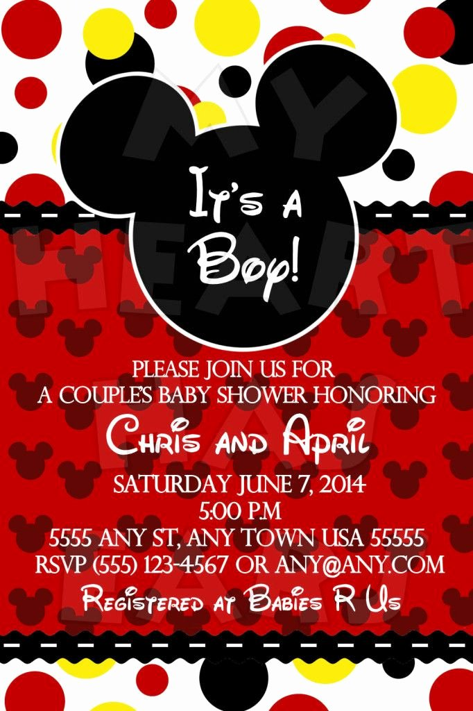 Mickey Mouse Baby Shower Invitation Elegant 25 Best Ideas About Mickey Mouse Baby Shower On Pinterest