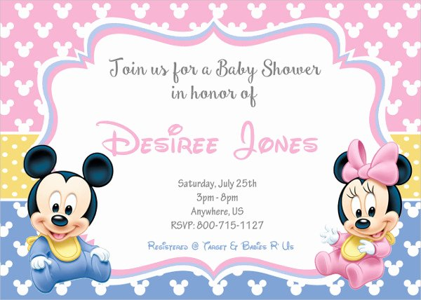 Mickey Mouse Baby Shower Invitation Elegant 43 Printable Baby Shower Invitations Psd Ai Word Eps