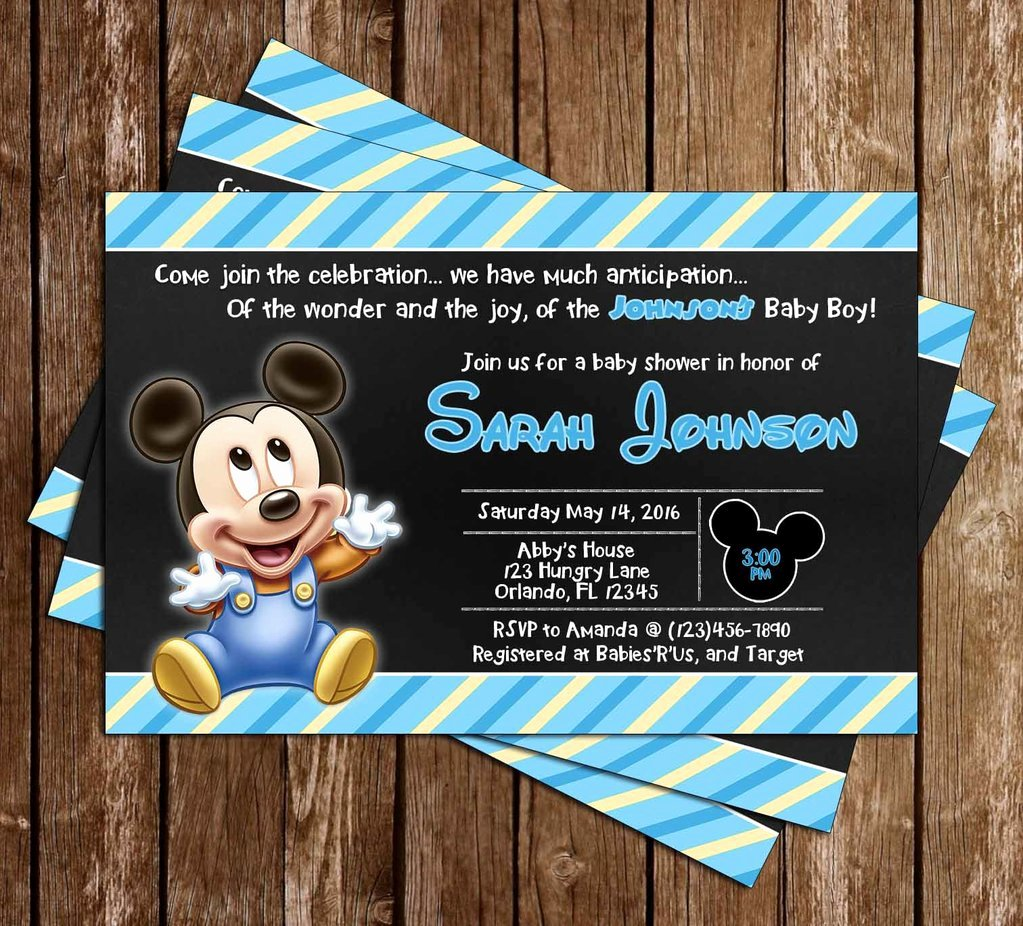 Mickey Mouse Baby Shower Invitation Elegant Novel Concept Designs Baby Mickey Mouse Baby Boy