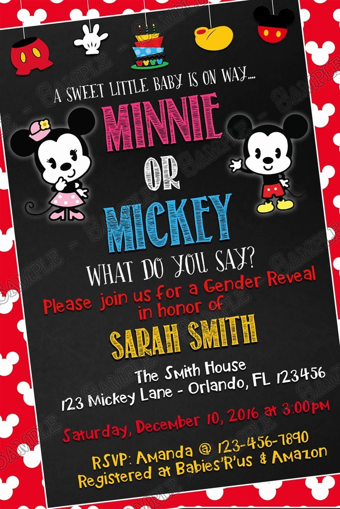 Mickey Mouse Baby Shower Invitation Lovely Novel Concept Designs Mickey & Minnie Mouse Gender