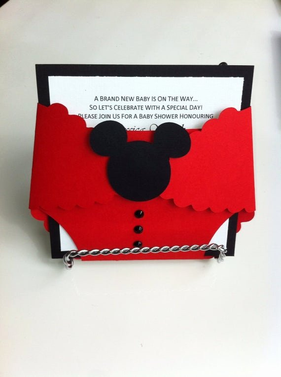 Mickey Mouse Baby Shower Invitation New Items Similar to Mickey Mouse Birthday Diaper Invitation