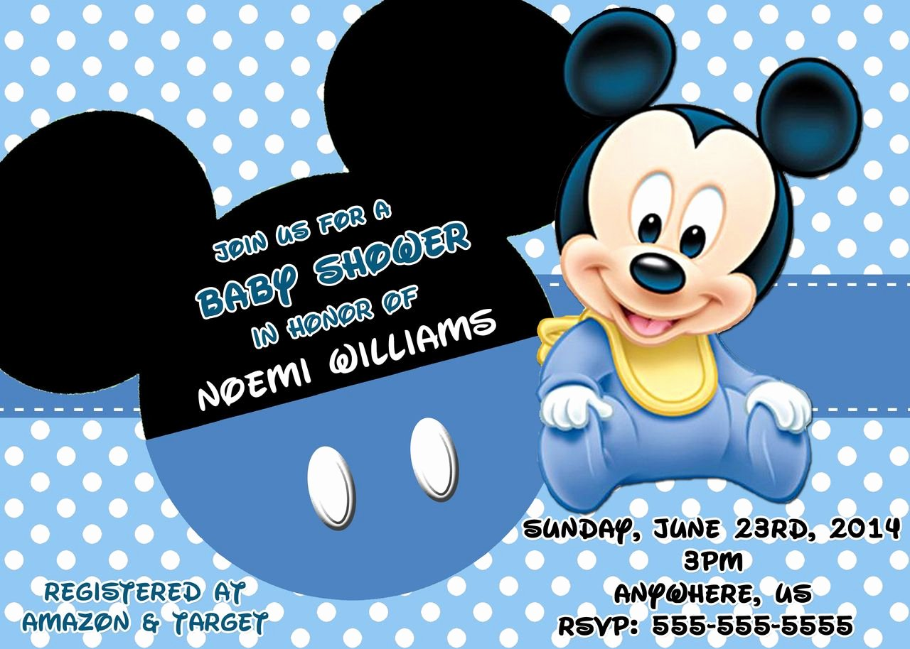 Mickey Mouse Baby Shower Invitation New Mickey Mouse Baby Shower Invitations 3 Hd Wallpapers