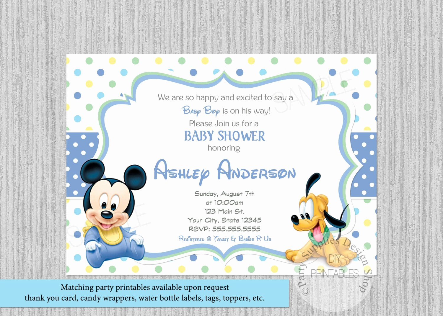 Mickey Mouse Baby Shower Invitation Unique Polka Dots Baby Mickey Mouse Baby Shower Invitations Mickey