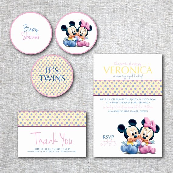 Mickey Mouse Baby Shower Invitation Unique Twins Baby Shower Invitation Set Mickey Mouse Baby Minnie